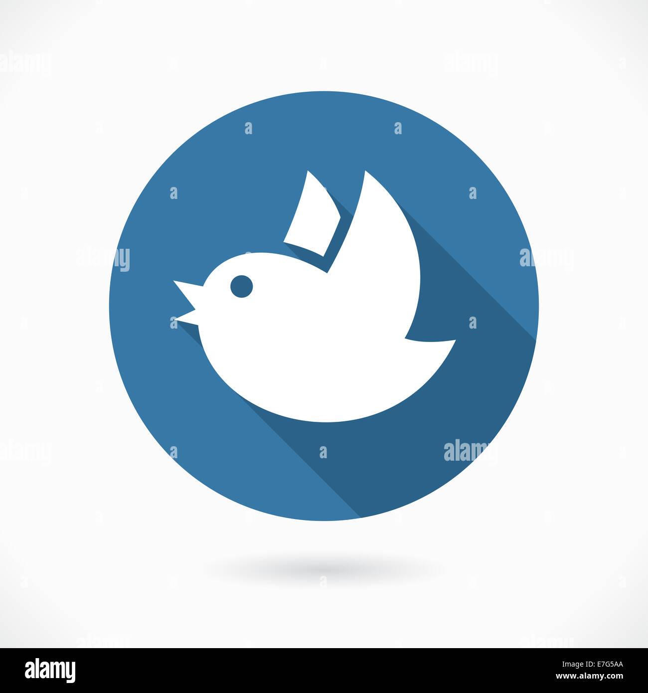 Round Blue Flying Bird Symbol Over Gray Background Stock Photo