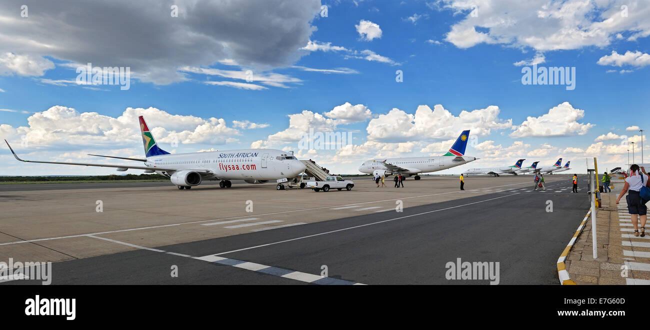 Jets at Hosea Kutako International Airport, Windhoek, Namibia - Stock Image