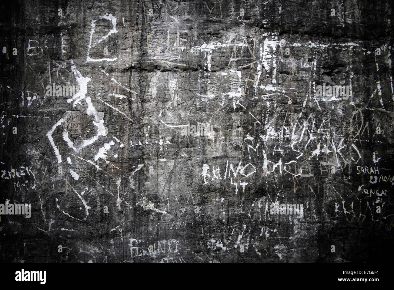 Graffiti, gas chamber, Auschwitz I extermination camp, Oswiecim, Poland, Oswiecim, Poland - Stock Image