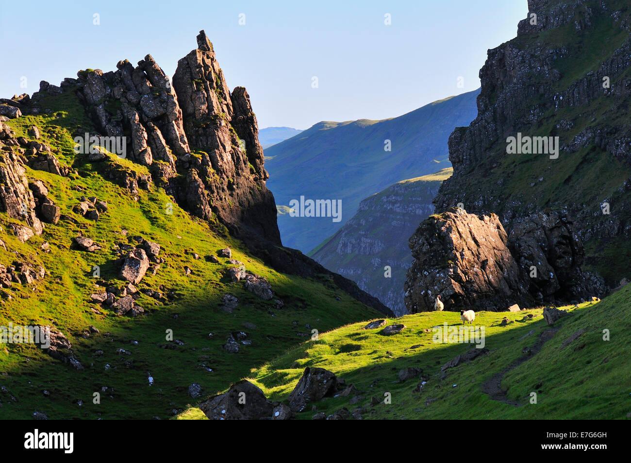 Rock formation on The Storr, Trotternish Peninsula, Ross, Skye and Lochaber, Isle of Skye, Scotland, United Kingdom - Stock Image