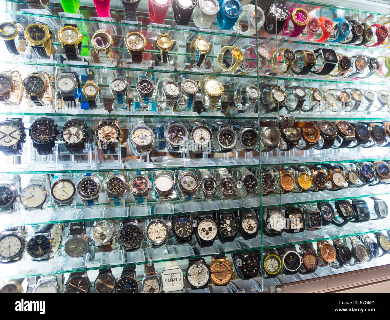 Dsiplay of fake luxury watches, Medina, Marrakech, Marrakech-Tensift-Al Haouz, Morocco - Stock Image