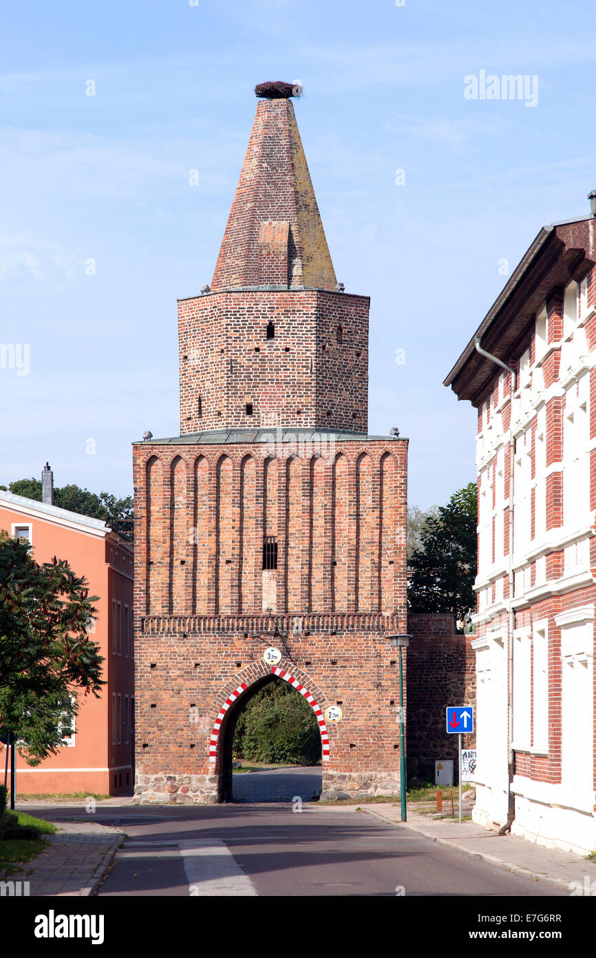 Mühlentor, city gate of the medieval fortifications, Pasewalk, Mecklenburg-Western Pomerania, Germany - Stock Image