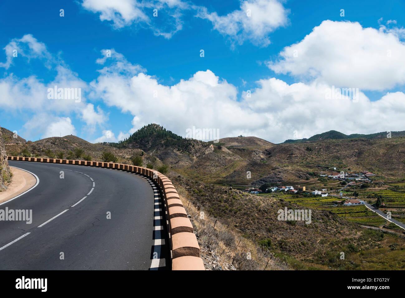 Road, Santiago del Teide, Tenerife, Canary Islands, Spain - Stock Image