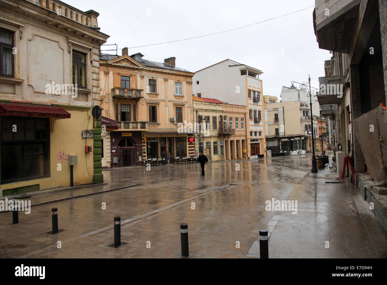 Bucharest Romania decaying buildings Stock Photo