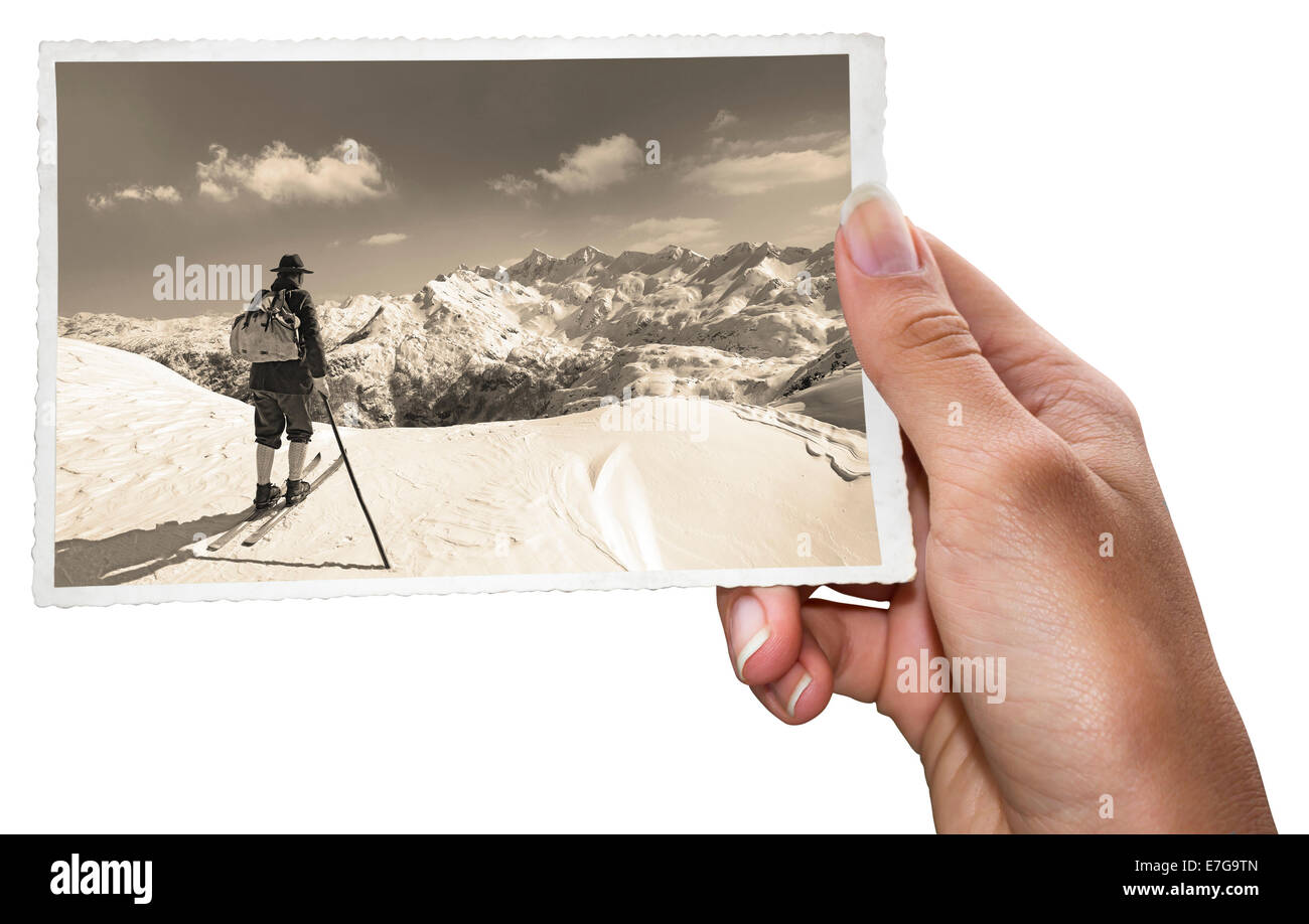 Old photos of skiers - Stock Image