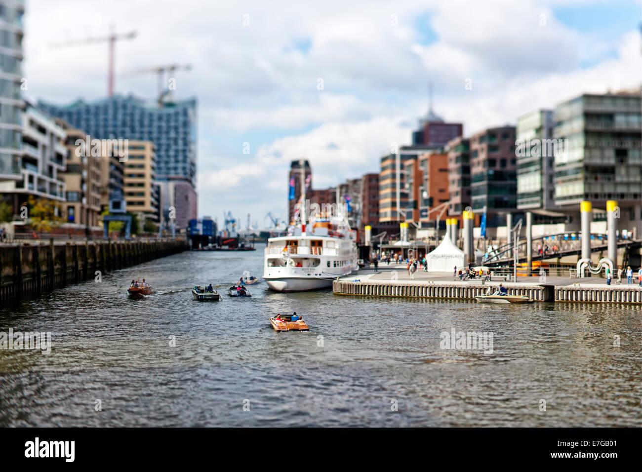 Tilt-Shift image of Hafencity district at Hamburg harbor - Stock Image