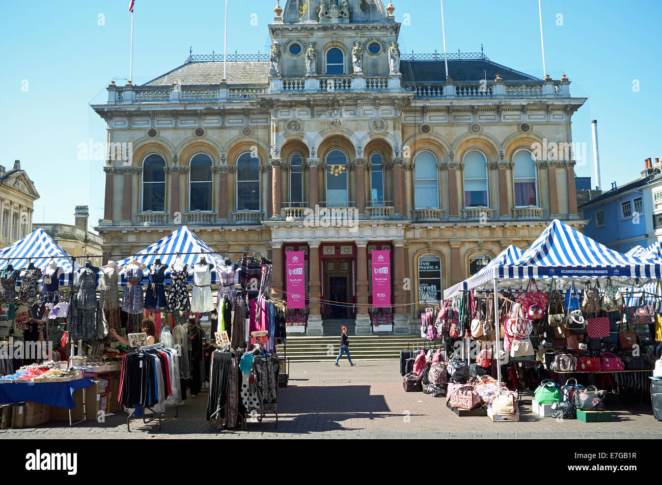 Ipswich Market business Cornhill Corn Hill stalls - Stock Image