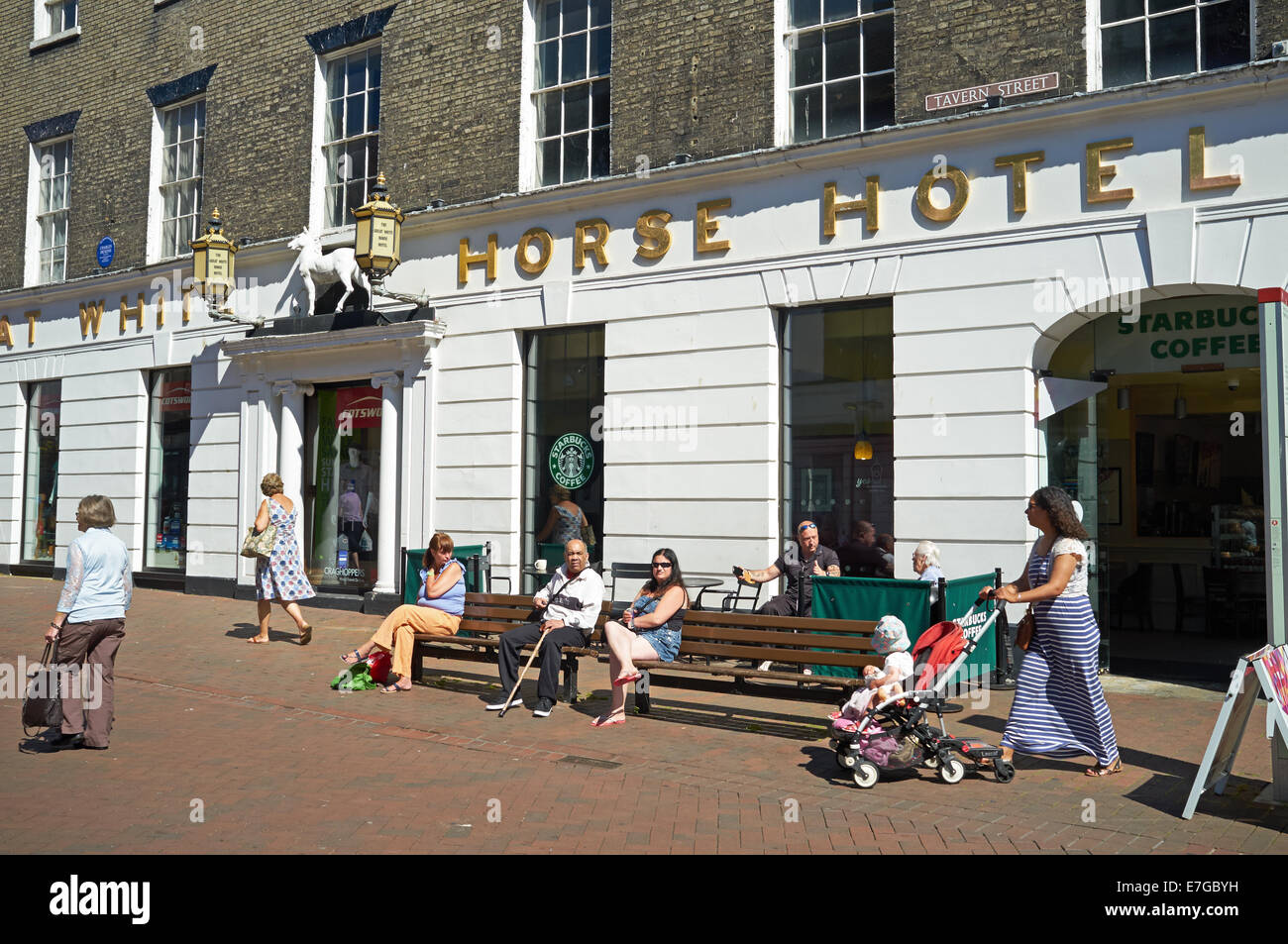 The Great White Horse Hotel (now retail outlets) Ipswich Suffolk UK - Stock Image