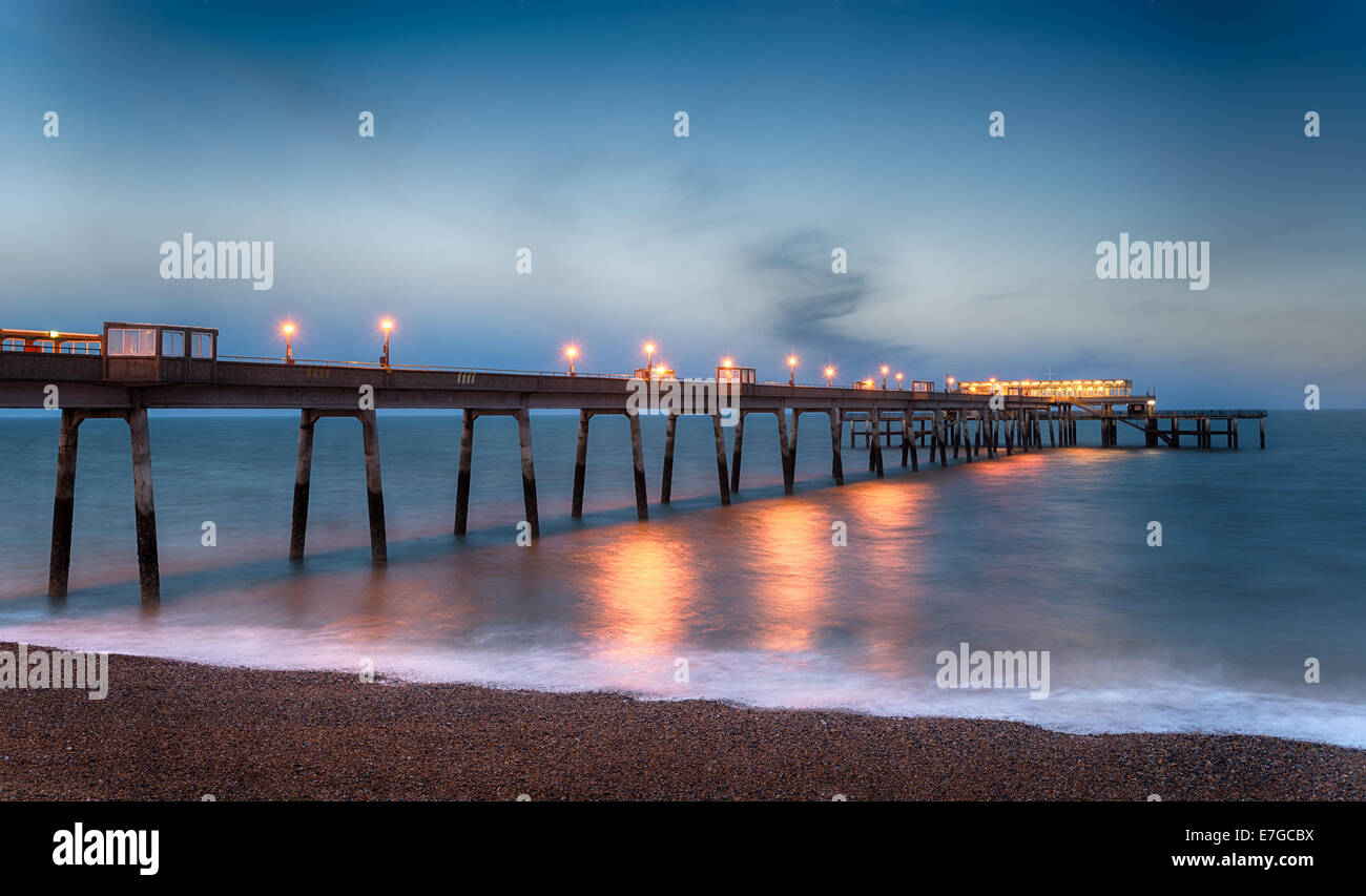 Night time at the pier at Deal in Kent - Stock Image