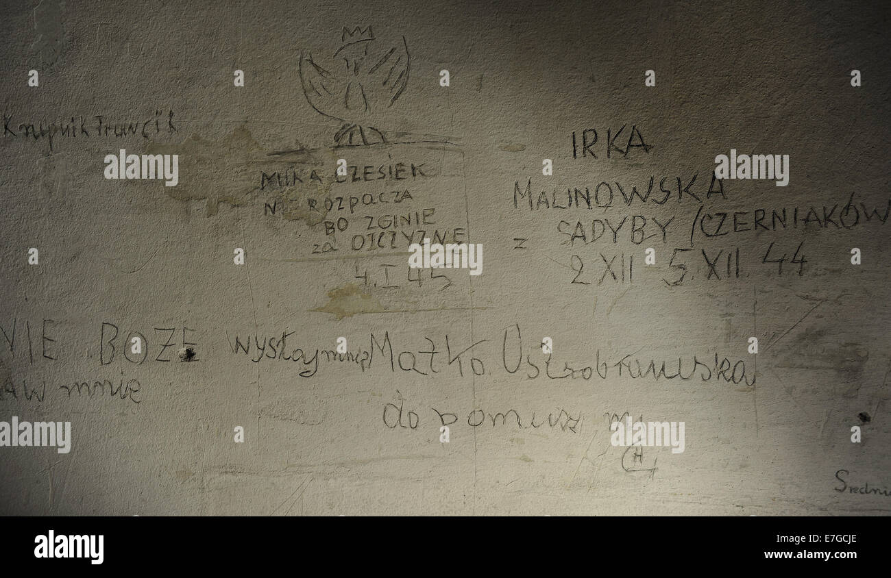 Poland. Krakow. Gestapo Museum. Inscription on the walls, made​by the detainees. Inside. - Stock Image
