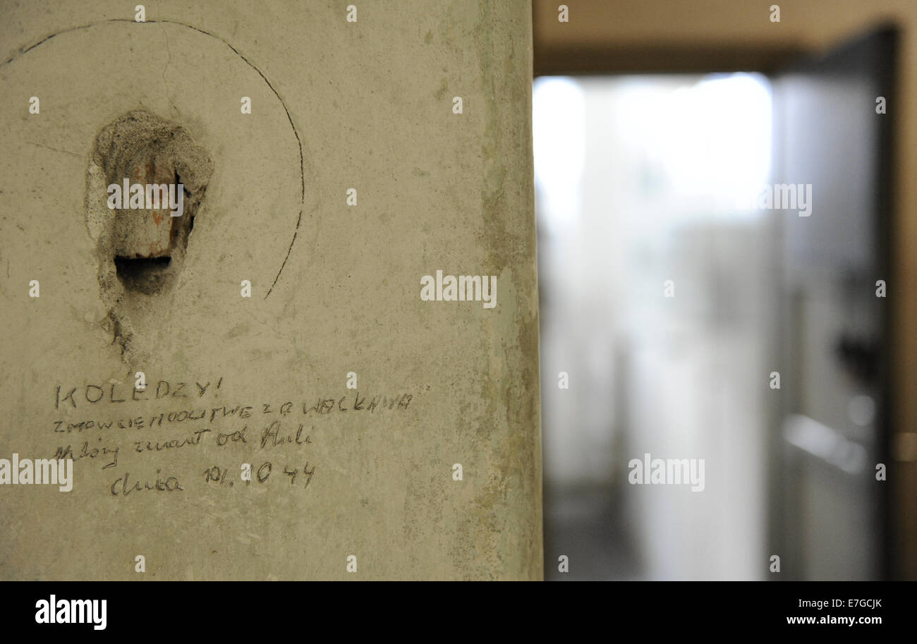 Poland. Krakow. Gestapo Museum. Inscription on the walls, made by the detainees. Inside. - Stock Image