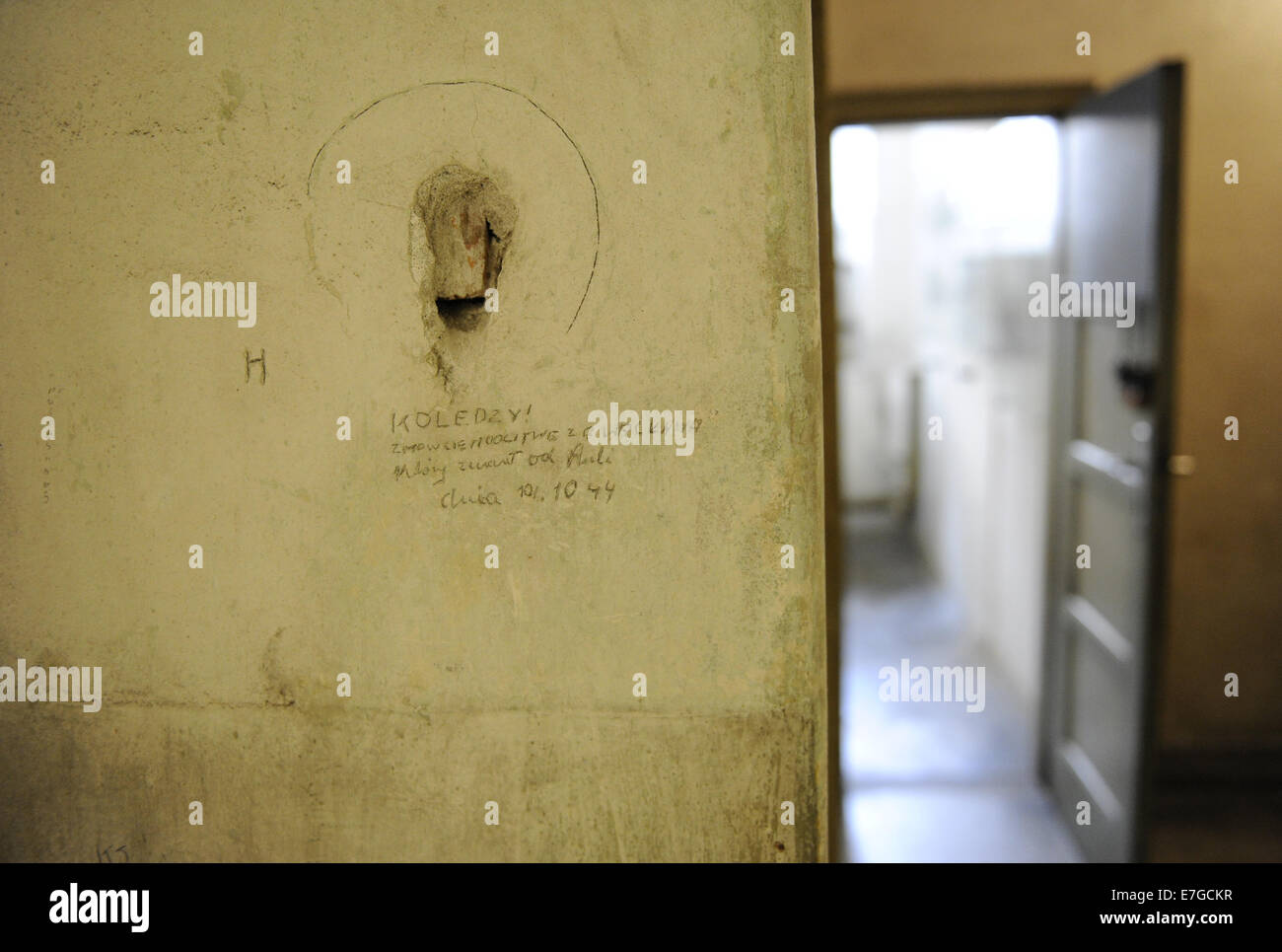 Poland. Krakow. Gestapo Museum. Inscription on the walls, made ​​by the detainees. Inside. - Stock Image