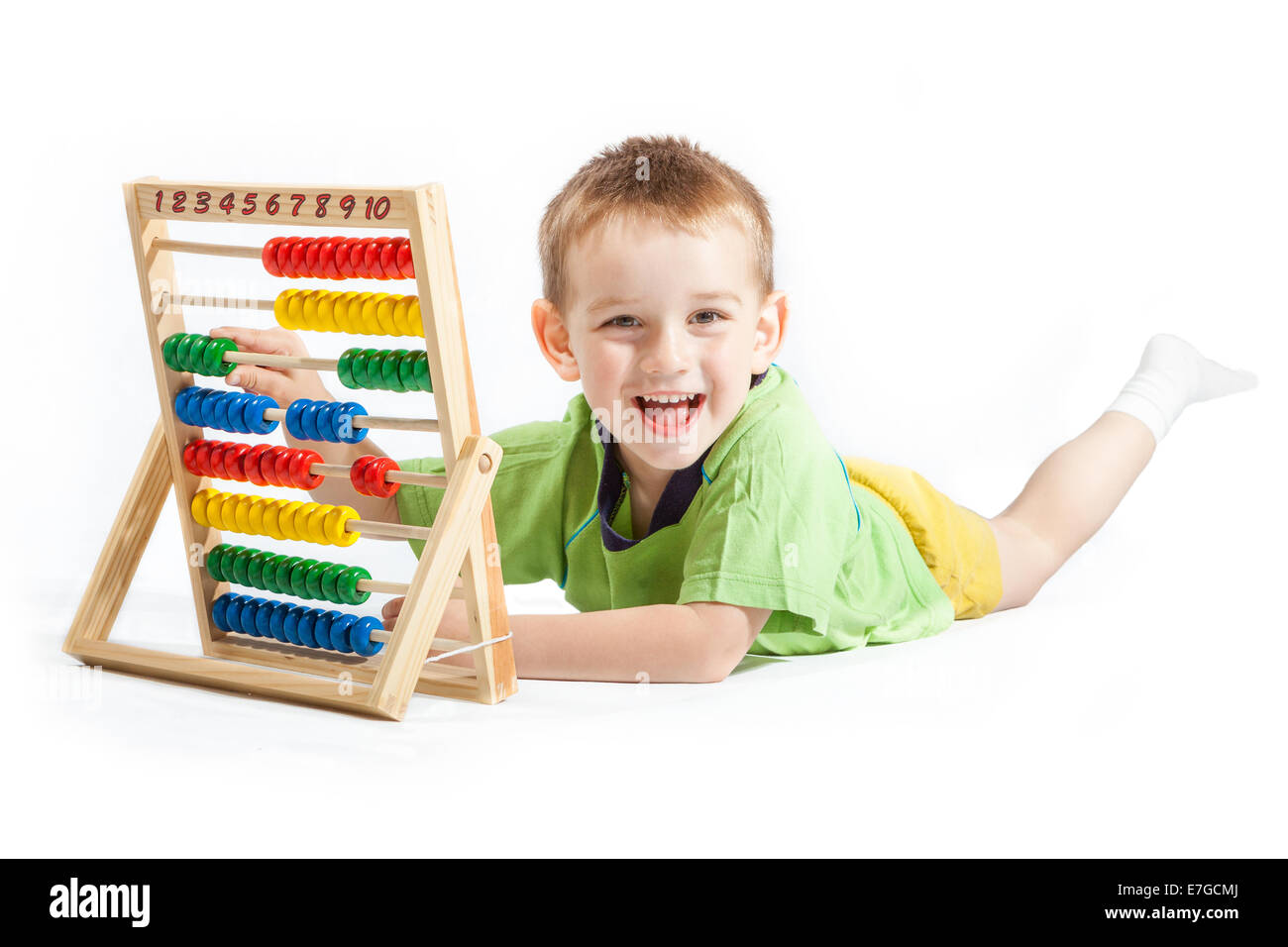 jolly baby boy with abacus isolated on white background - Stock Image