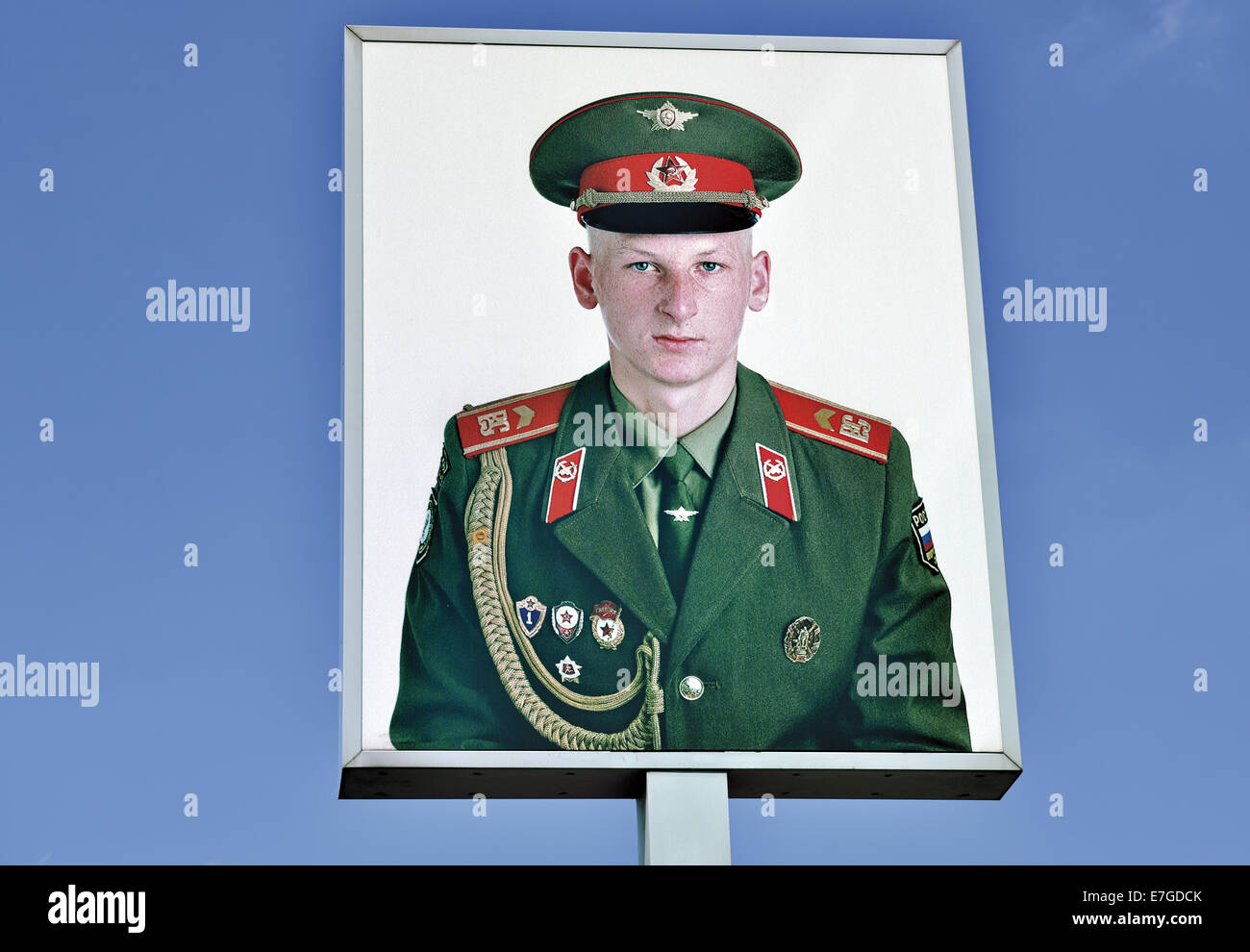 Germany, Berlin, Checkpoint Charlie, sowjet soldier, portrait, Frank Thiel, photographer, former border checkpoint, - Stock Image