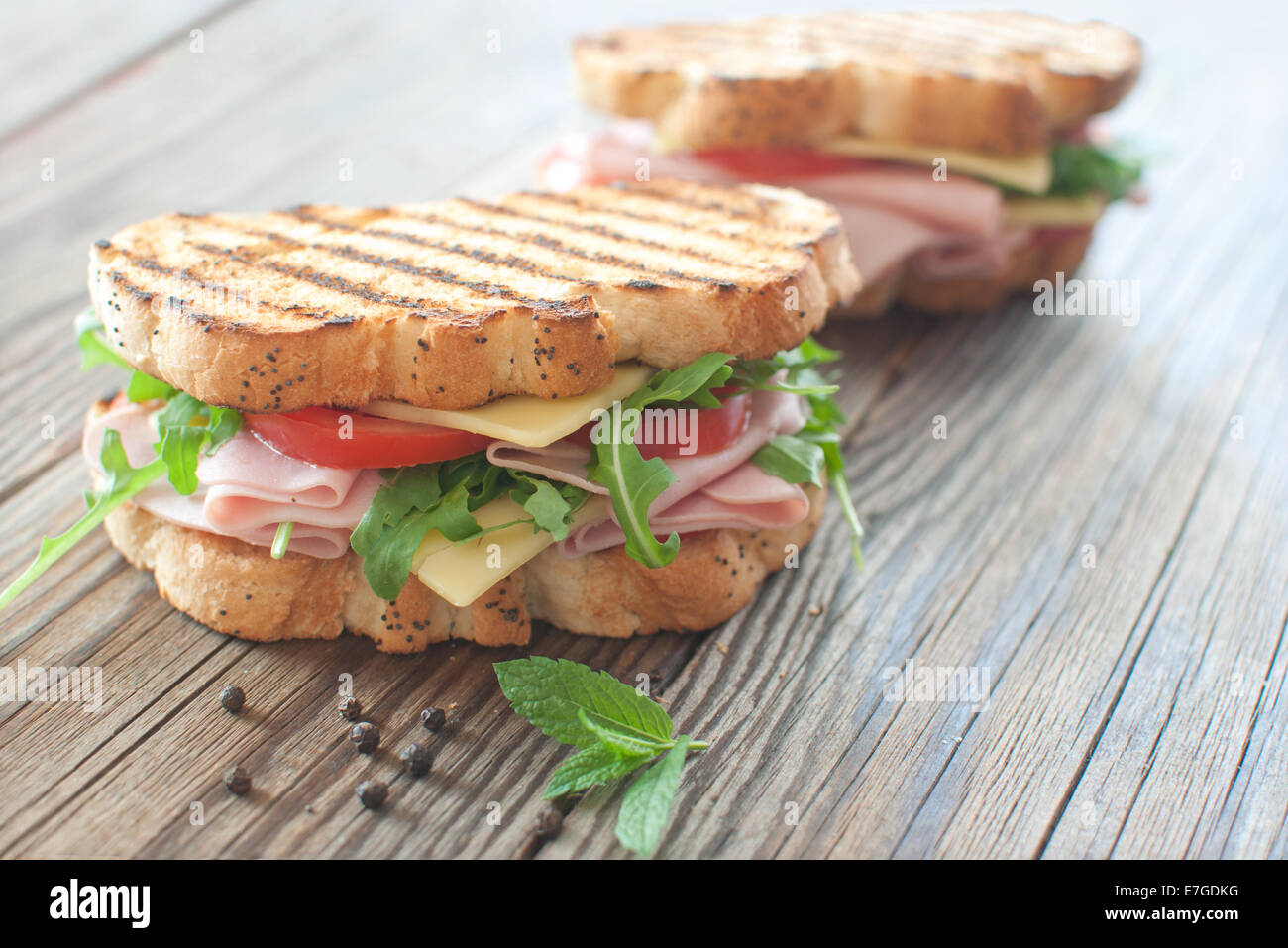 Grilled deli sandwiches with ham and cheese - Stock Image