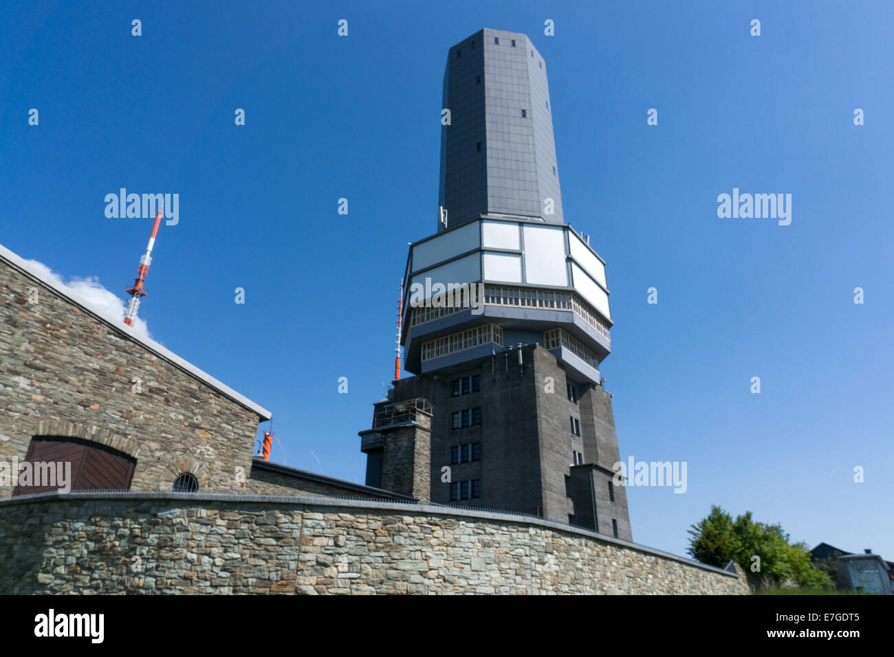 Germany: Transmitter masts and observation tower at Großer Feldberg, Hesse. Photo from 8th June 2014. - Stock Image