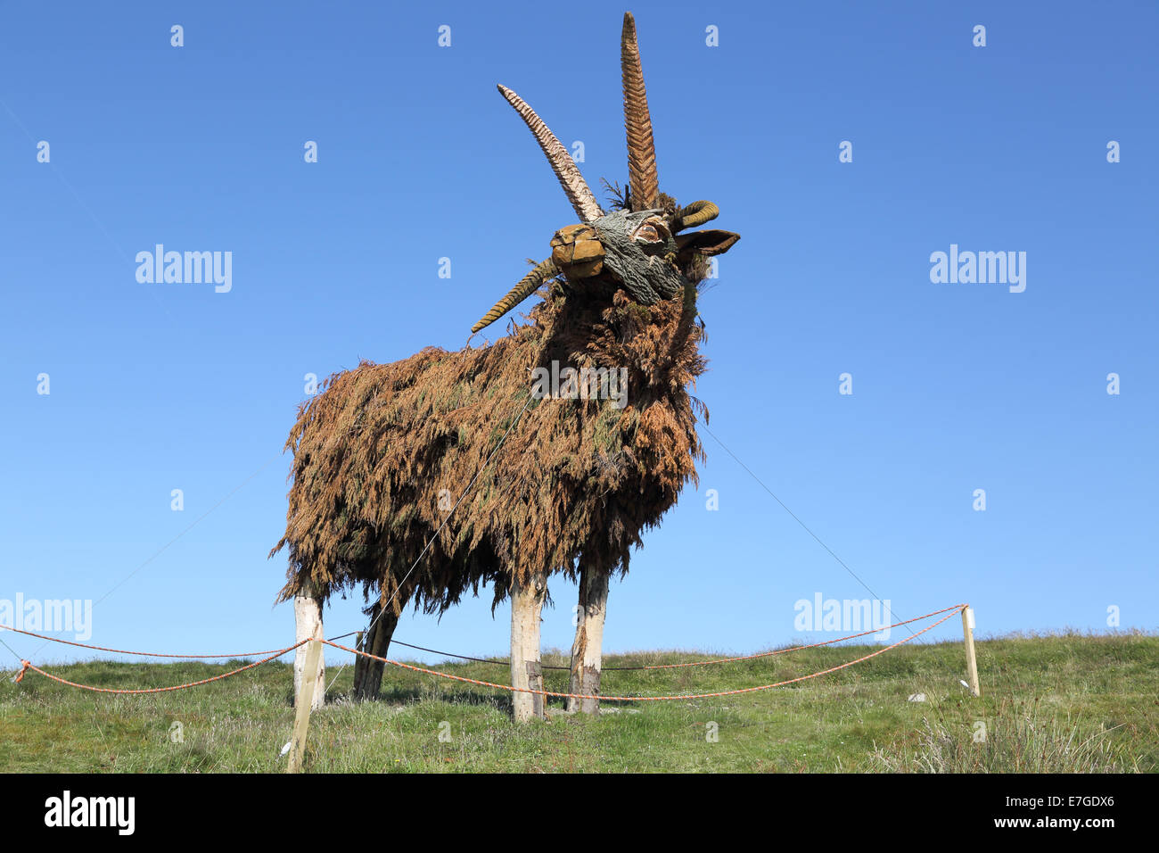statues of manx sheep at the bungalow on the TT course  on the isle of man - Stock Image