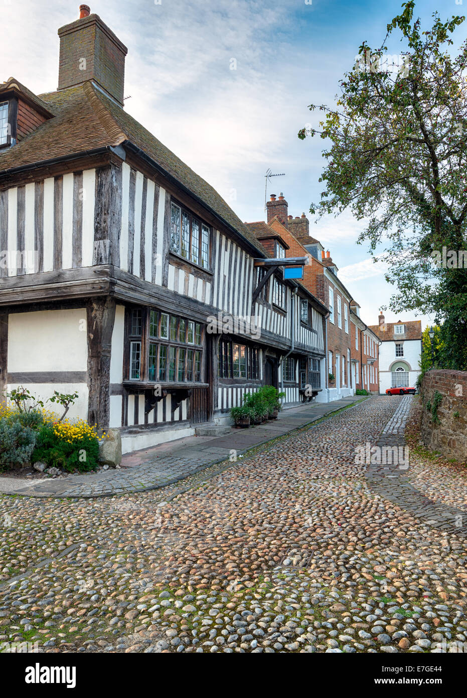 Half timbered Tudor houses on cobblestoned streets at Rye in East Sussex - Stock Image