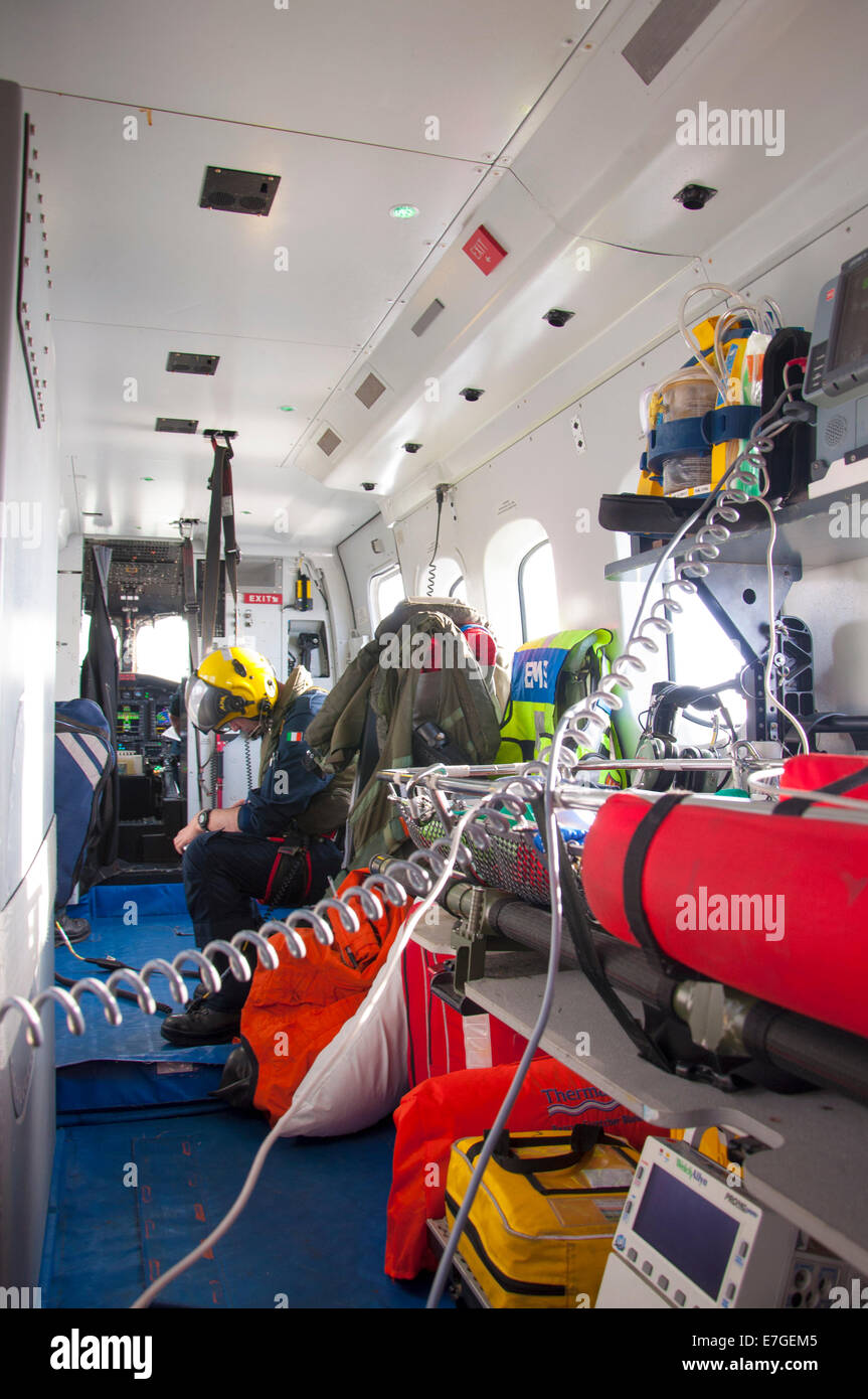Irish Coast Guard IRCG  Garda Cósta na hÉireann Sikorsky helicopter inside interior of chopper - Stock Image