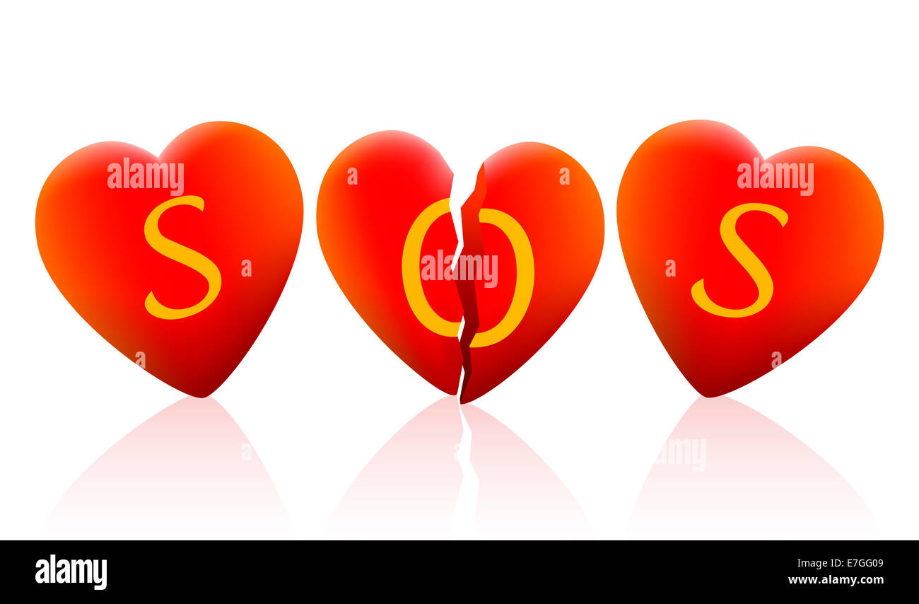 Three hearts that say SOS, the heart in the middle is broken. - Stock Image