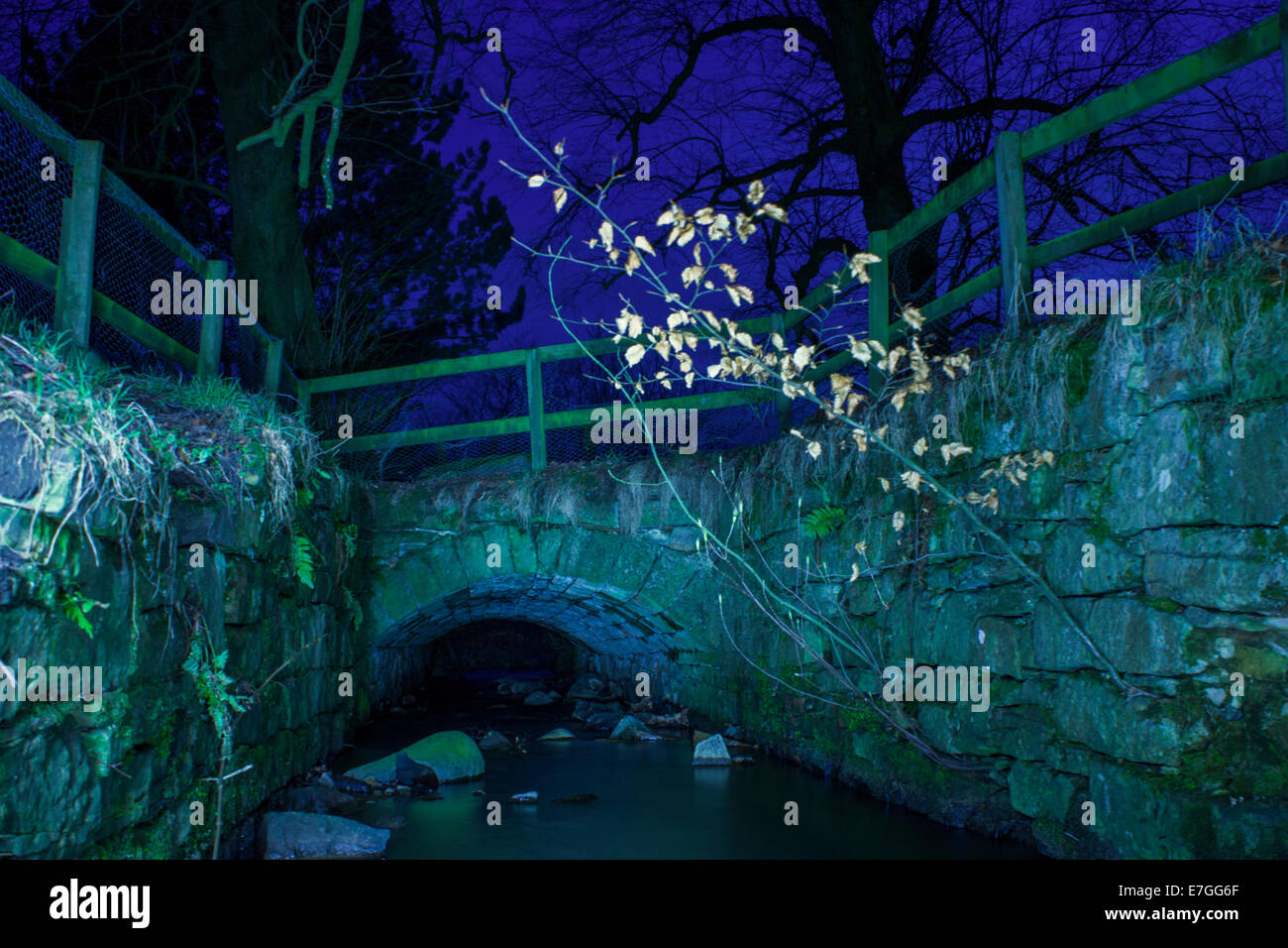 Landscape at night, filled with flashgun's to show context - Stock Image