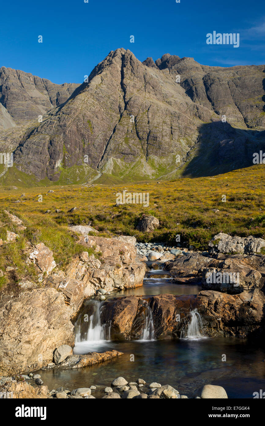 Stream of Allt Coir a Tairneilear with the Black Cuillin Mountains behind, Glen Brittle, Isle of Skye, Scotland - Stock Image