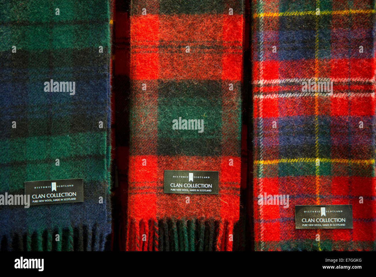Scottish Tartan scarves for sale in the Hightlands, Scotland - Stock Image