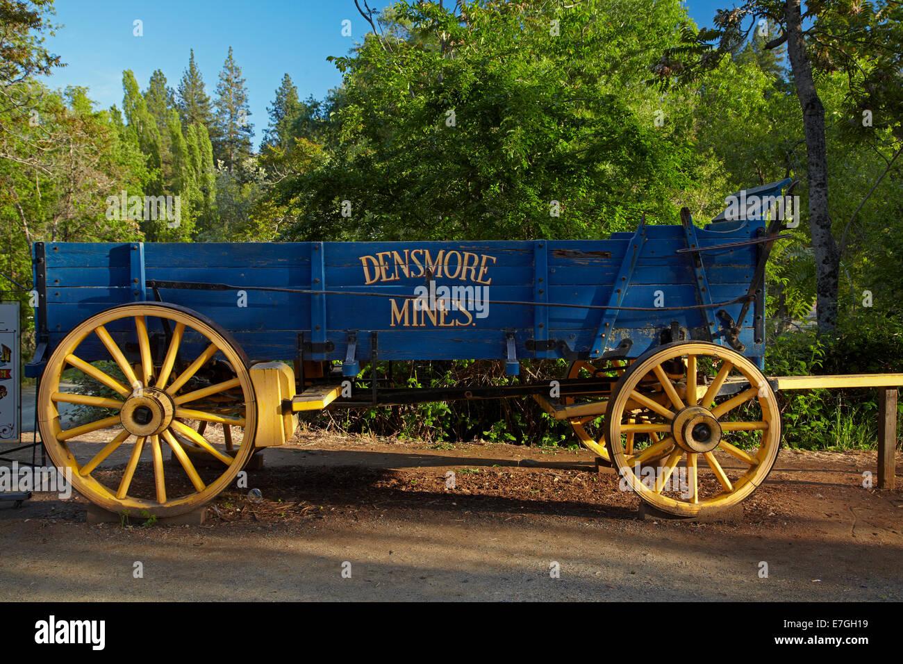Densmore Mines Wagon, Main Street, Columbia State Historic Park, Columbia, Tuolumne County, Sierra Nevada foothills, - Stock Image