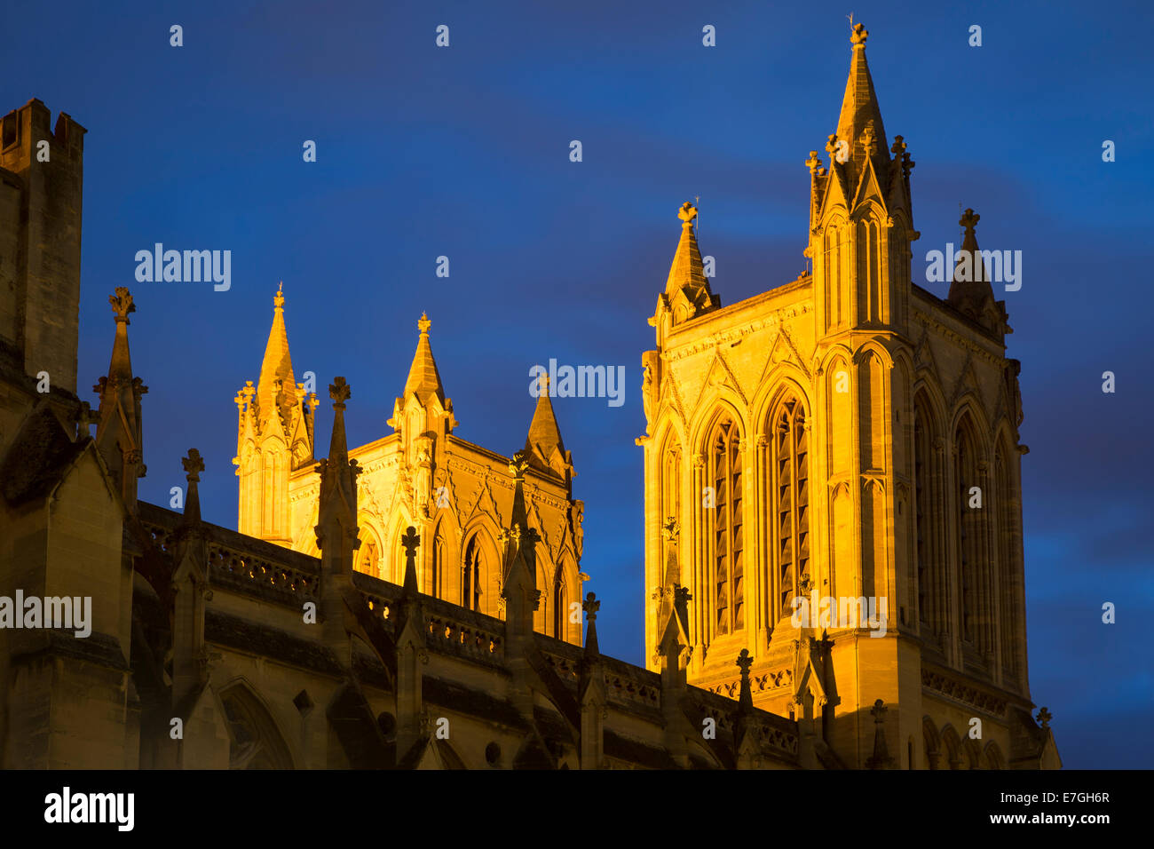 Lighted towers of Cathedral Church of the Holy and Undivided Trinity, Bristol, England Stock Photo