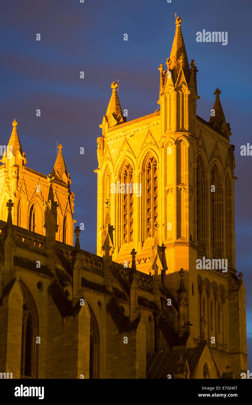 Lighted towers of Cathedral Church of the Holy and Undivided Trinity, Bristol, England - Stock Image