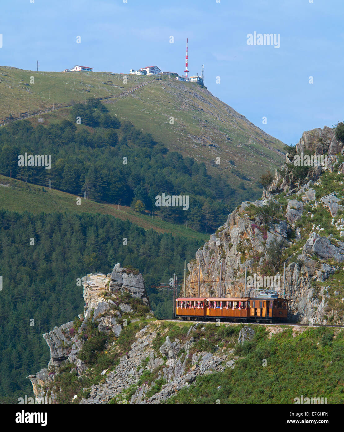 Road train the Mount Larrun, Euskadi, France - Stock Image