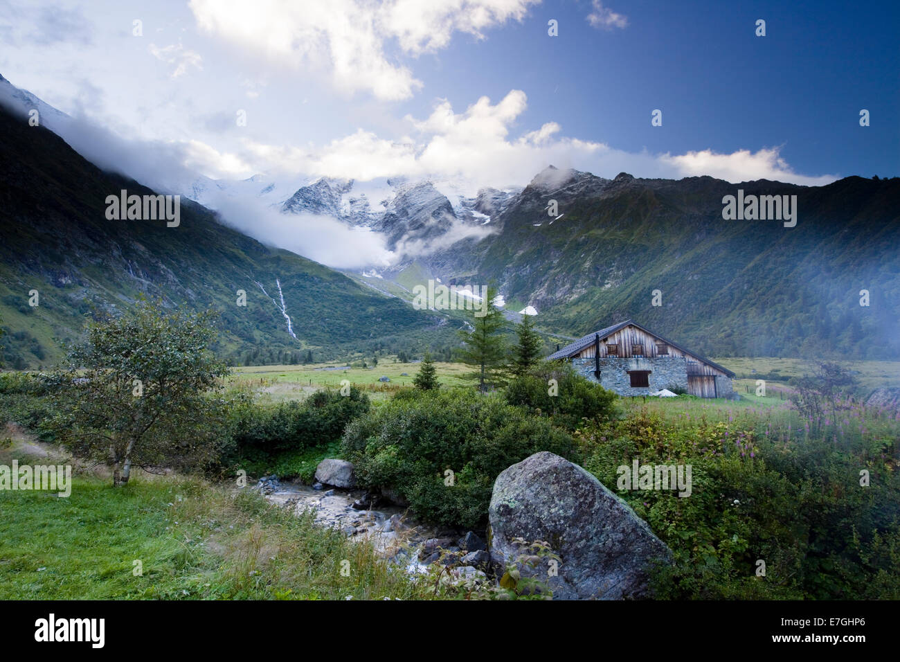 View from Refuge de Miage on Domes de Miage in Mont Blanc massif, French Alps - Stock Image