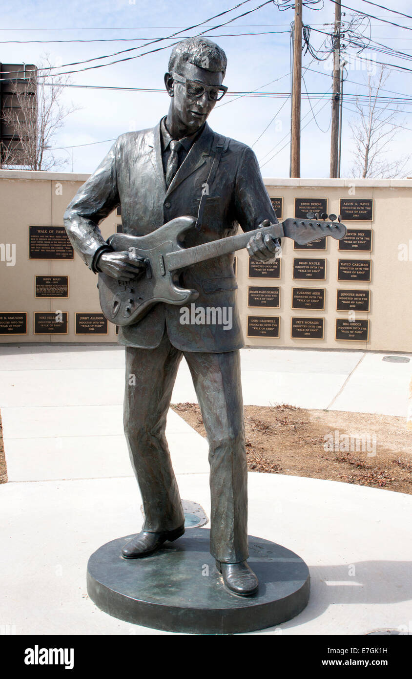 Buddy Holly statue in Lubbock Texas - Stock Image