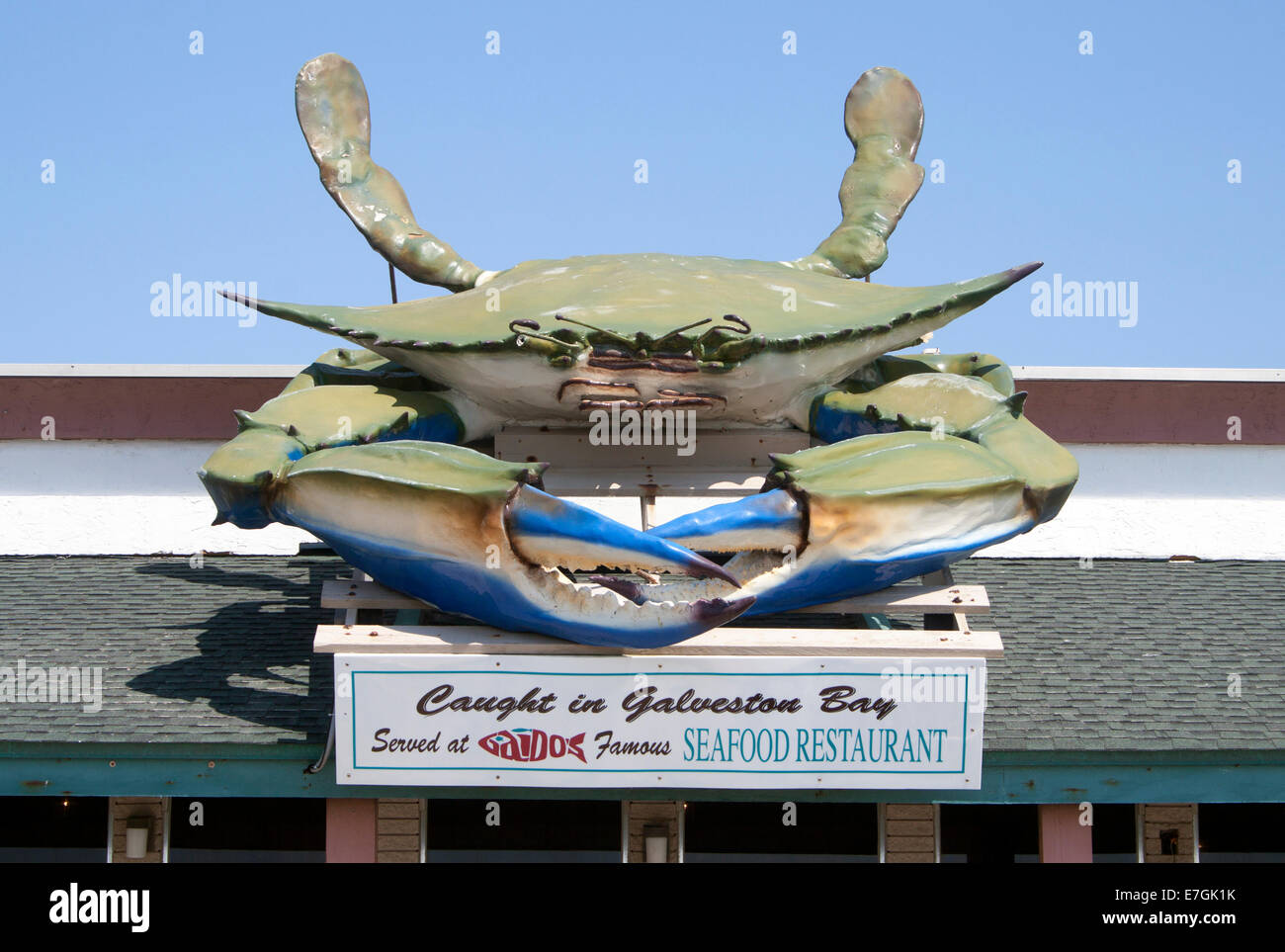 Giant Crab On A Roof At A Seafood Restaurant In Galveston