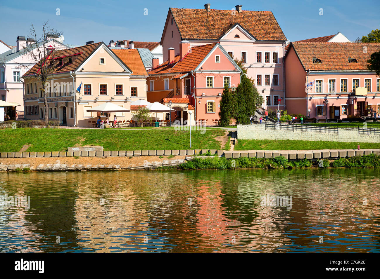 View of Trinity hill and Svislach river in Minsk city, Belarus Republic - Stock Image
