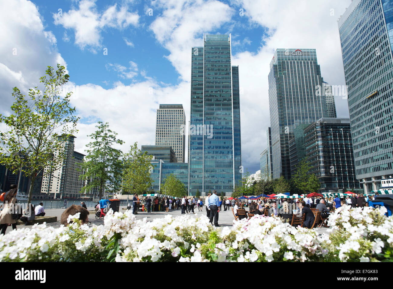Docklands Canary Wharf, London, England, UK - a street food lunch time market. - Stock Image