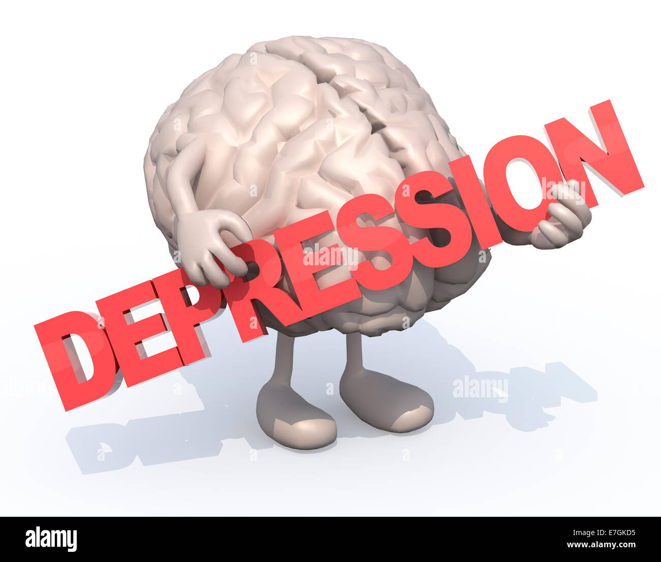 human brain with arts that embraces a word 'depression', 3d illustration - Stock Image