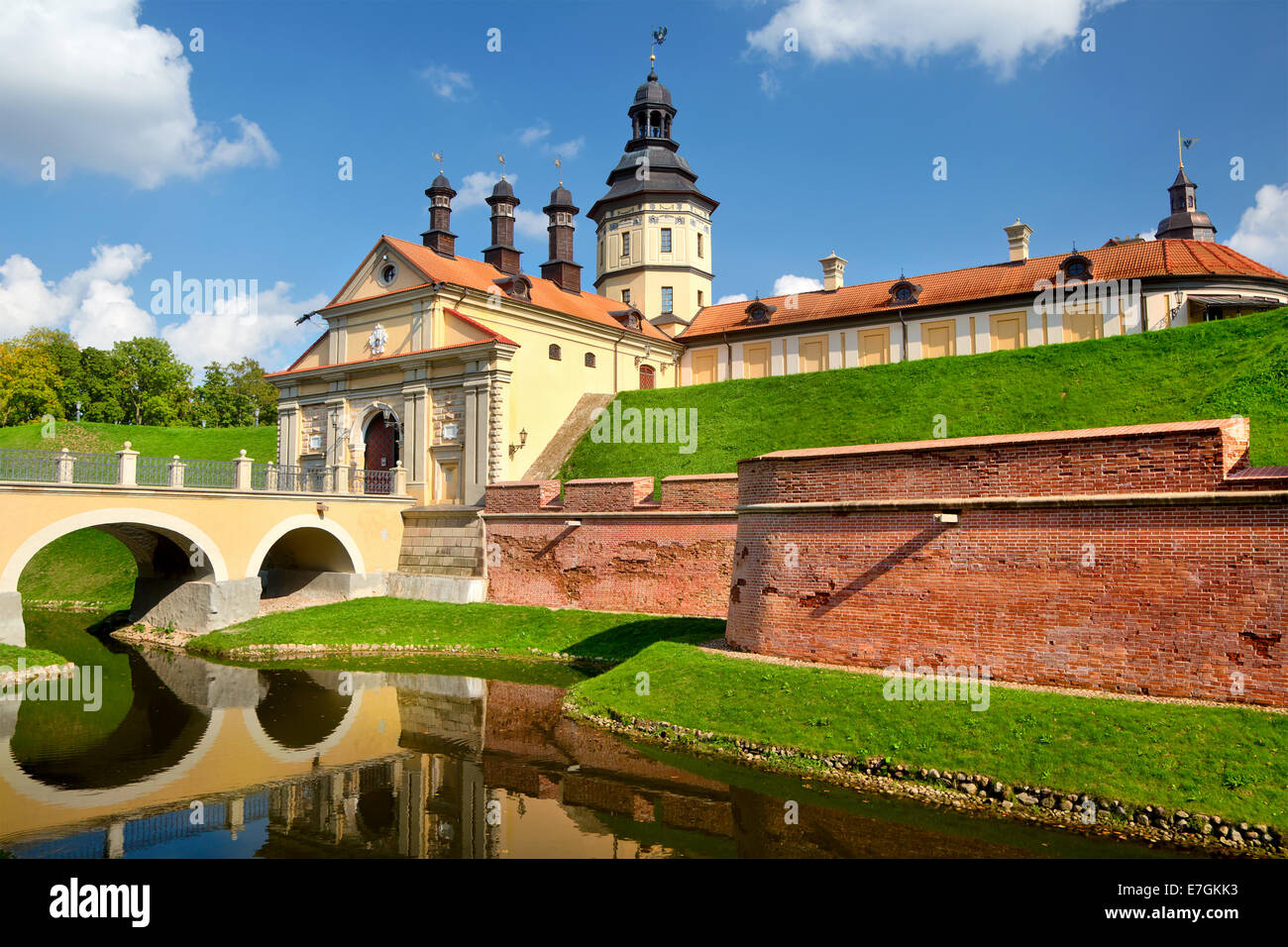 View of medieval castle near Nesvizh town of Belarus Republic Stock Photo