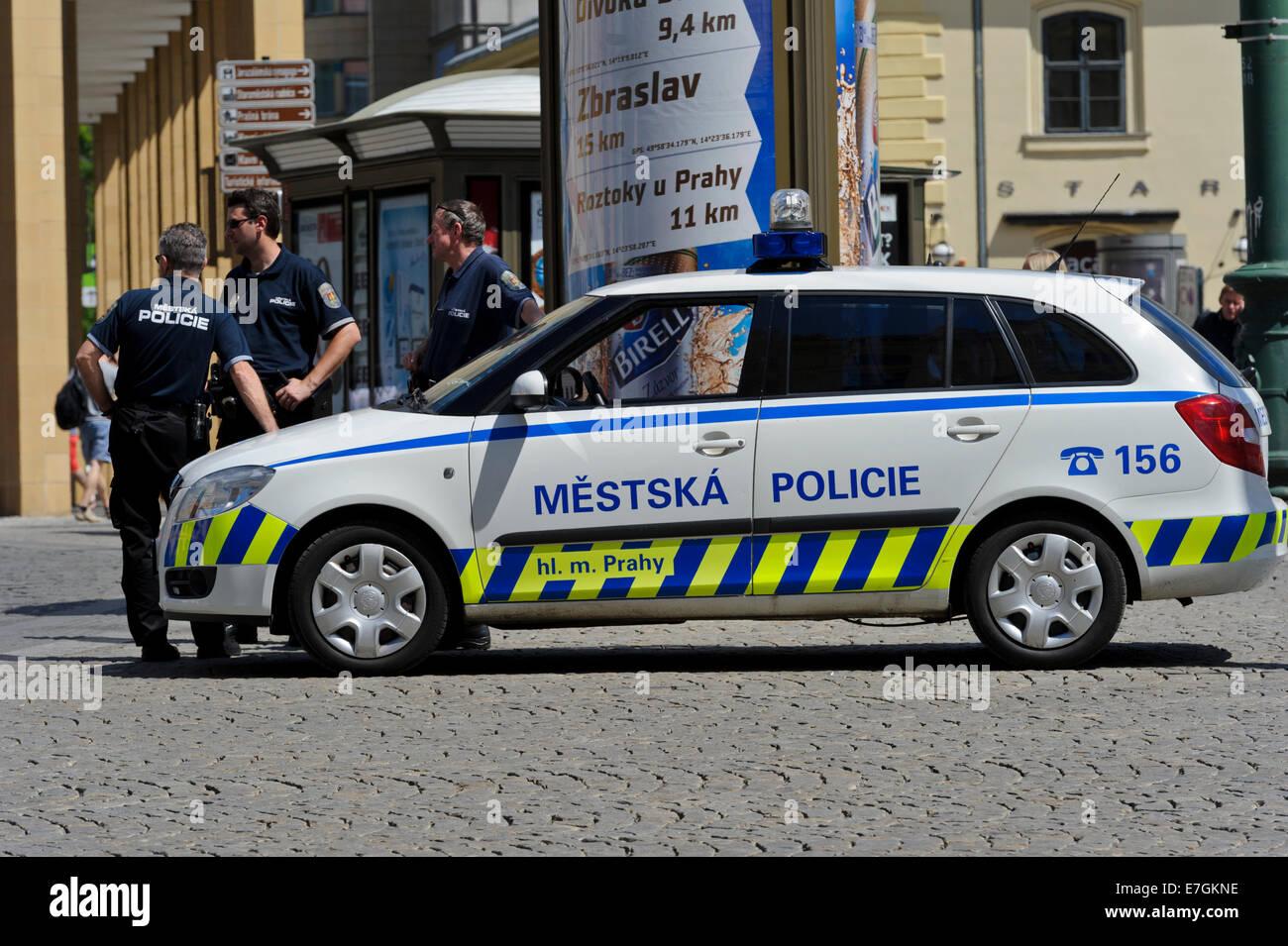 Auto Sale Czech Republic: A Modern Police Car In Prague, Czech Republic Stock Photo