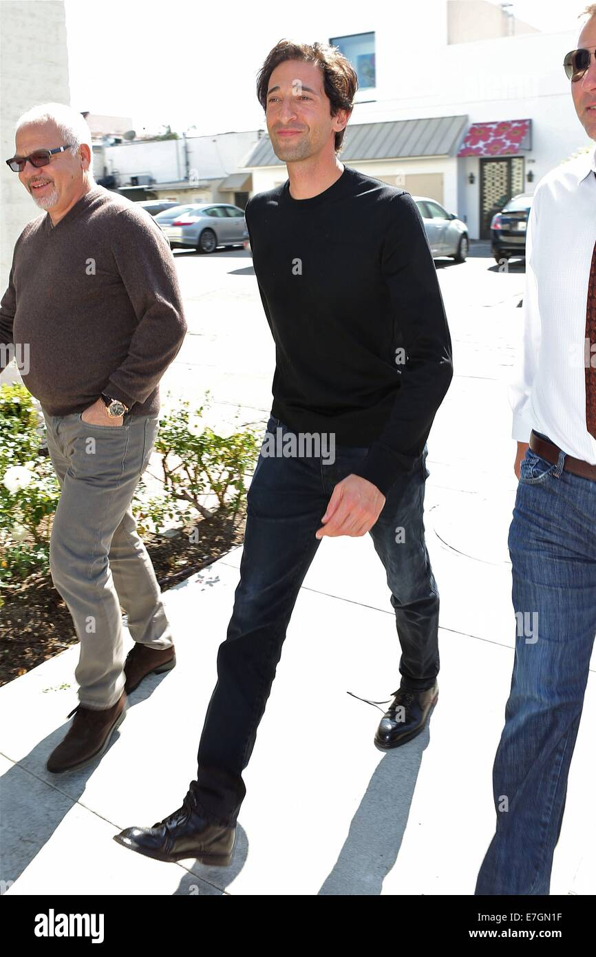 Adrien Brody walks in Beverly Hills after Lunch  with friends  Featuring: Adrien Brody Where: Los Angeles, California, - Stock Image