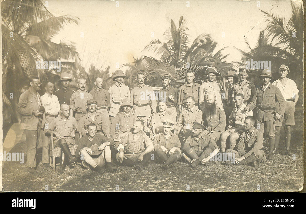 Postcard of General von Lettow's surviving officers after the East African campaign - Stock Image