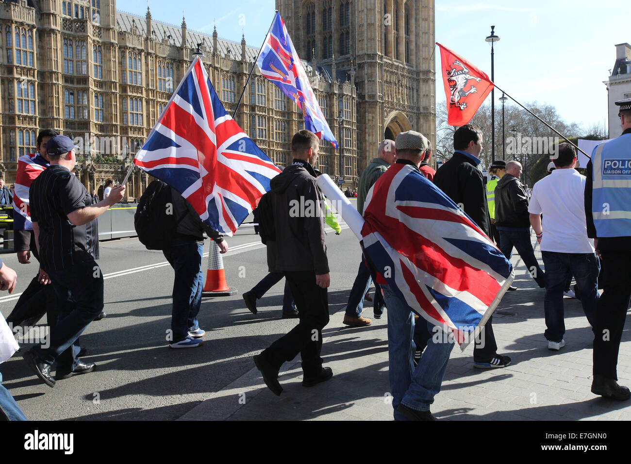 Right Wing Group English Volunteer Force march to Parliament to protest against the Islamication of the U.K.  Where: - Stock Image