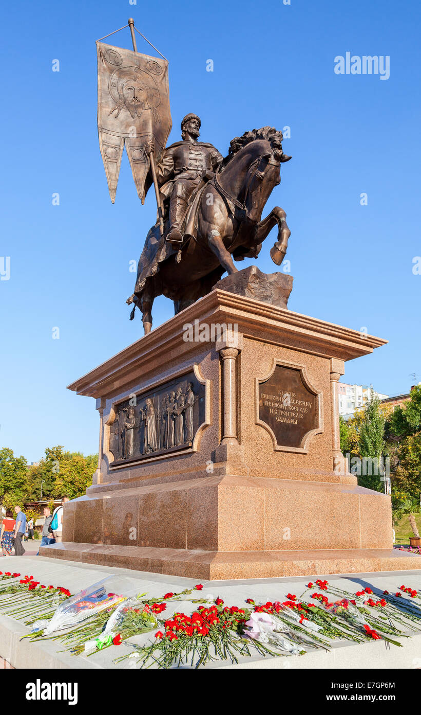 Bronze monument to the founder of Samara Prince Grigory Zasekin - Stock Image