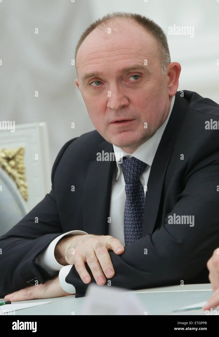 Moscow, Russia. 17th Sep, 2014. Governor elect of Chelyabinsk Region, Boris Dubrovsky, at a meeting between the - Stock Image