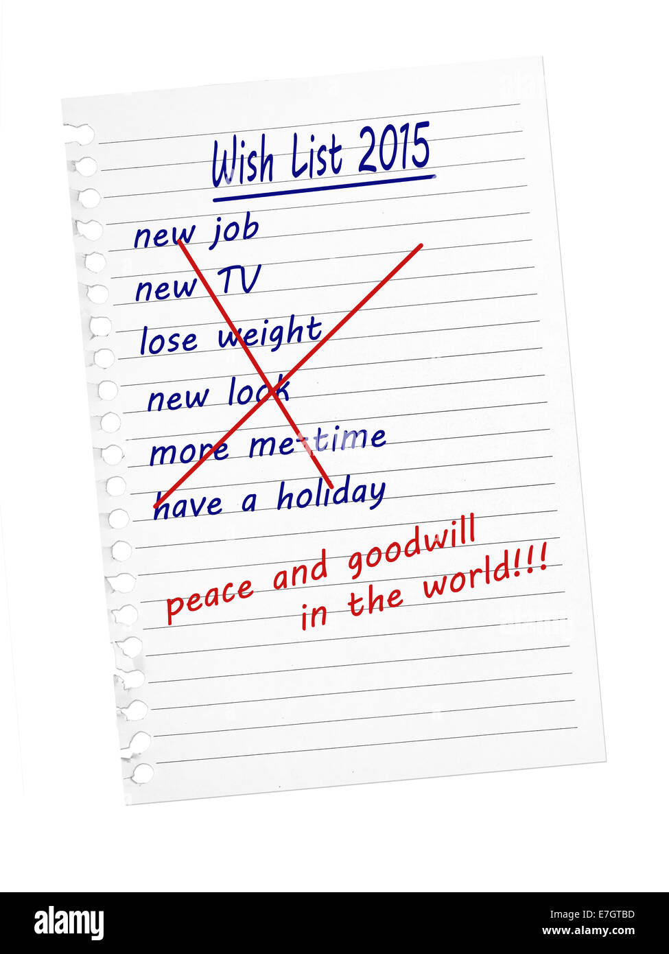 Wish list. From materialistic self-centred to world peace and goodwill. - Stock Image
