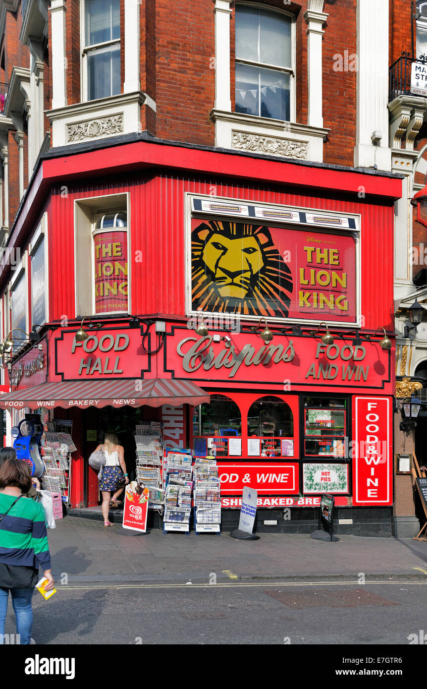 Corner shop, Shaftesbury Avenue, China Town, London, England, UK - Stock Image