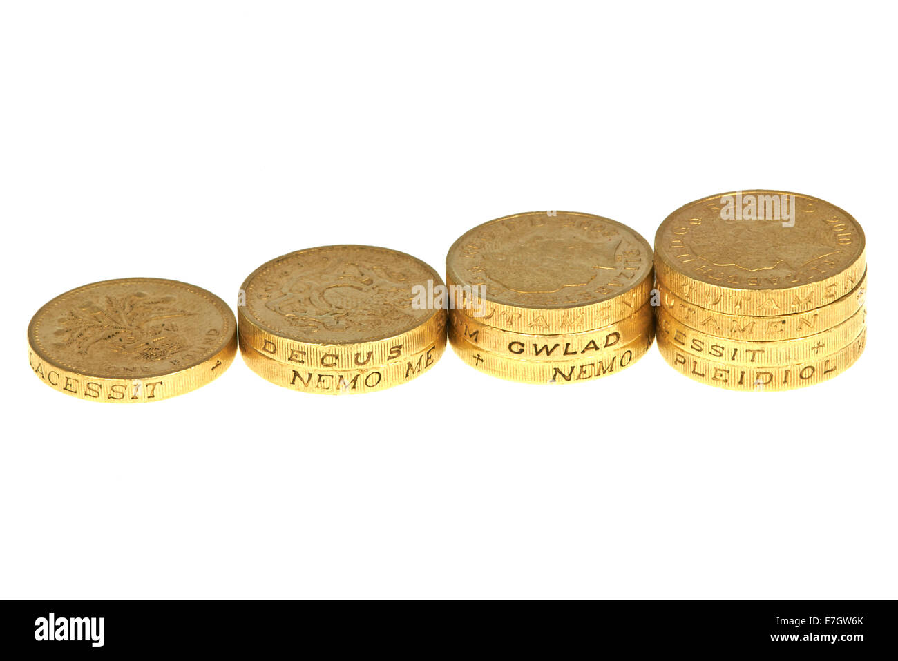 Rising Columns Of Pound Coins - Stock Image