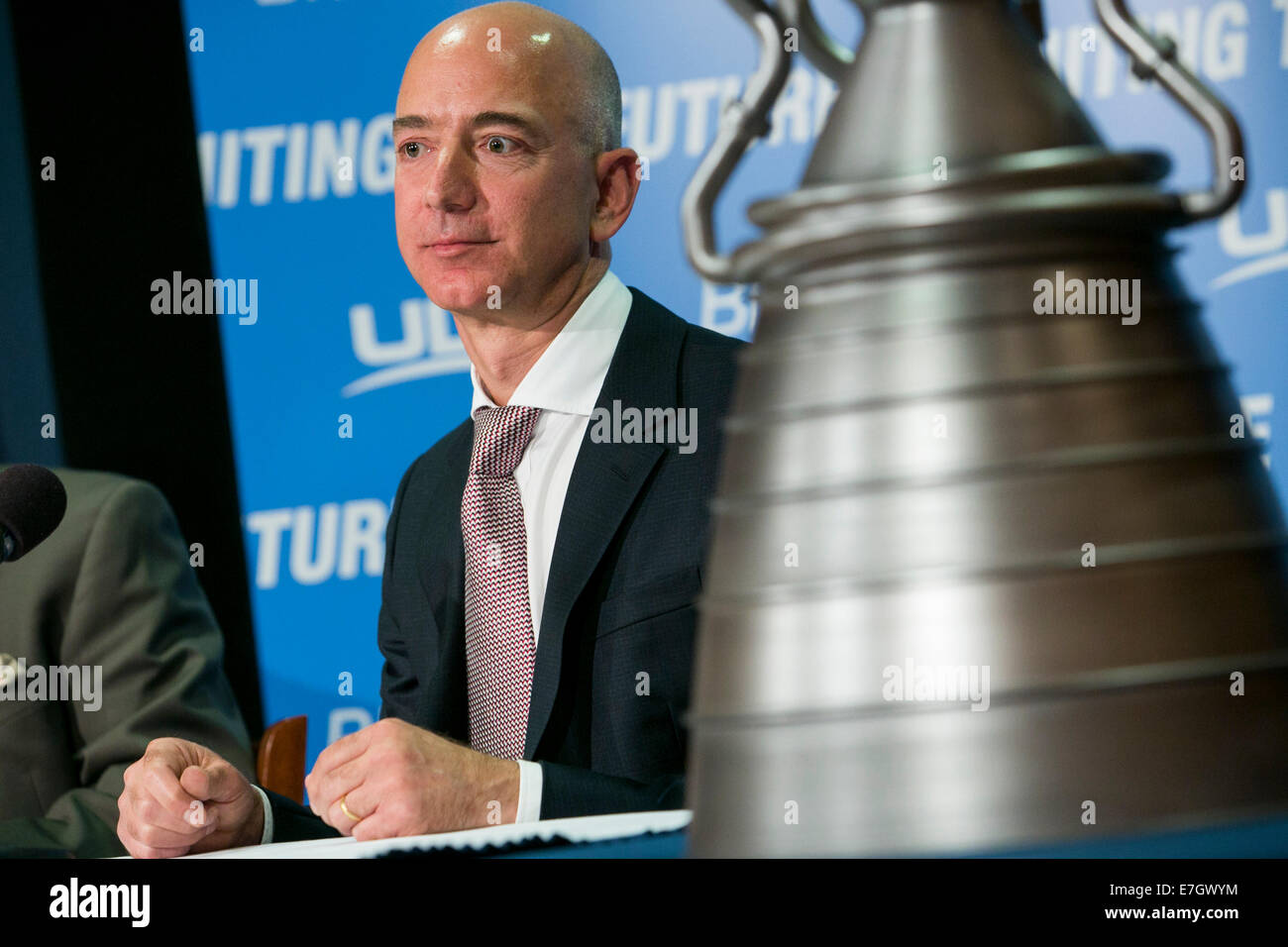 Jeff Bezos, founder of Amazon.com and Blue Origin participates in a press conference to unveil the BE-4 Rocket Engine - Stock Image