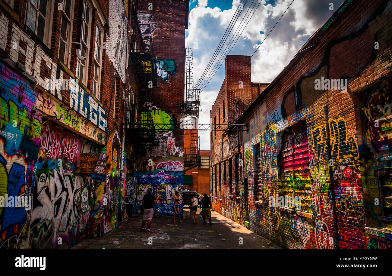 Sunny Summer Day In The Graffiti Alley Baltimore Maryland