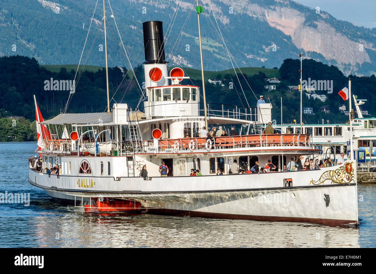 Paddle Wheel Steamer at Lake Lucerne in Switzerland Stock Photo